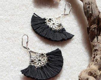 Loop earrings chic bohemian black tassels, ethnic jewelry and Bohemian chic jewelry
