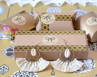 earring, ecru and Tan tassels, jewelry, Christmas gift idea, Christmas gift jewelry