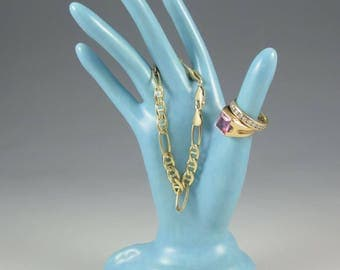 Ceramic Hand Ring Baby Blue Satin Glazed Holder Ceramic Jewelry Tree Hand Glove Mold Great Bridesmaid Gifts!