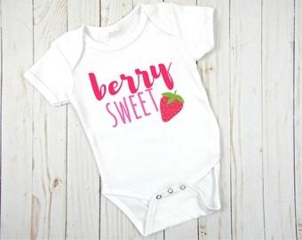 Berry sweet strawberry baby girl onesie