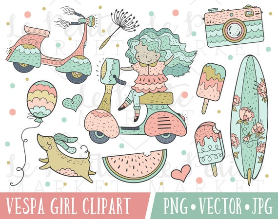 Hand Drawn Cute Vespa Girl Clipart Set Vintage Scooter