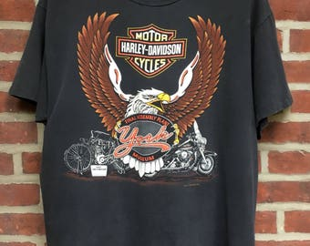 Vintage York Harley Davidson t shirt 1995 museum assembly made in usa mens L