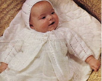 PDF Knitting for baby Matinee Coat and Bonnet instant download knitting pattern