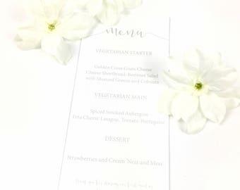 Beautiful Grey Wedding Table Menus