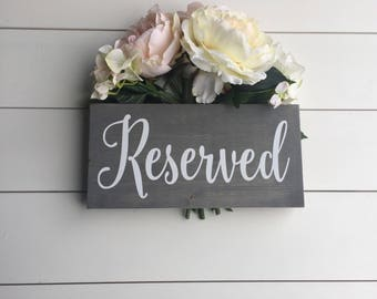 Wedding Reserved Sign, Rustic Wood Wedding Decor, Country Wedding Prop Reserved Table Seating Sign Grey Black White Wedding Sign