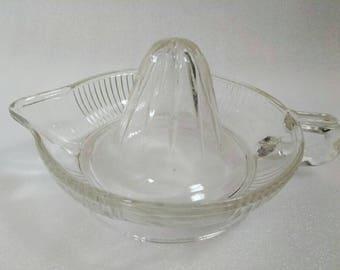 Vintage Clear Glass Anchor Hocking Handheld Juice Reamer