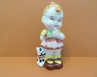 Young Girl, w / Pet Cat Figurine, Unmarked