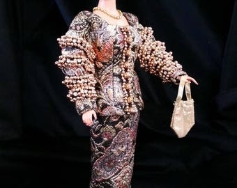 Stunning Christian Dior Jeweled Brocade Suit for Barbie
