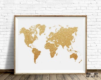 Gold printable map etsy world map poster gold glitter world map print push pin map of the world travel map gumiabroncs Image collections