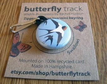 Swallows Key Ring Zipper Pull Bag Tag
