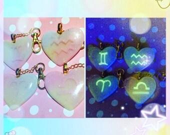 Glow in the dark kawaii zodiac resin keychain
