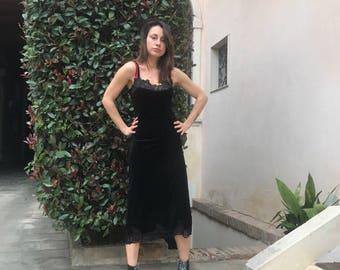 New Black Velvet Dress with Lace, Women Elegant Sleeveless Dress, Extravagant Party Dress by SSDfashion