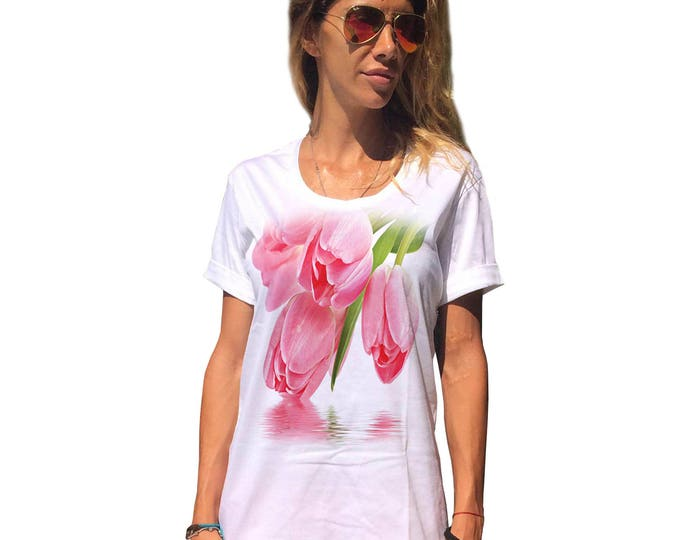 "Women's White Cotton T-shirts "" Tulip "", Fashion Print Tshirt, Oversize Tshirt, Extravagant Casual Top by SSDfashion"