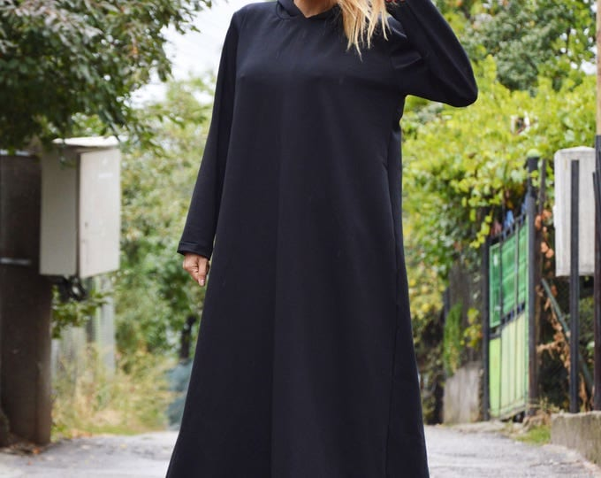 New Black Maxi Hooded Dress, Plus Size Loose Kaftan, Oversized Casual Dress with Hood, Hooded Extravagant by SSDfashion
