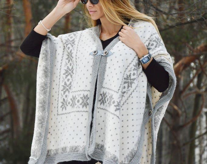 Extravagant Knit Grey Poncho, Asymmetric Scarf, Knit Wool Warm Coat, Oversized Casual Vest by SSDfashion