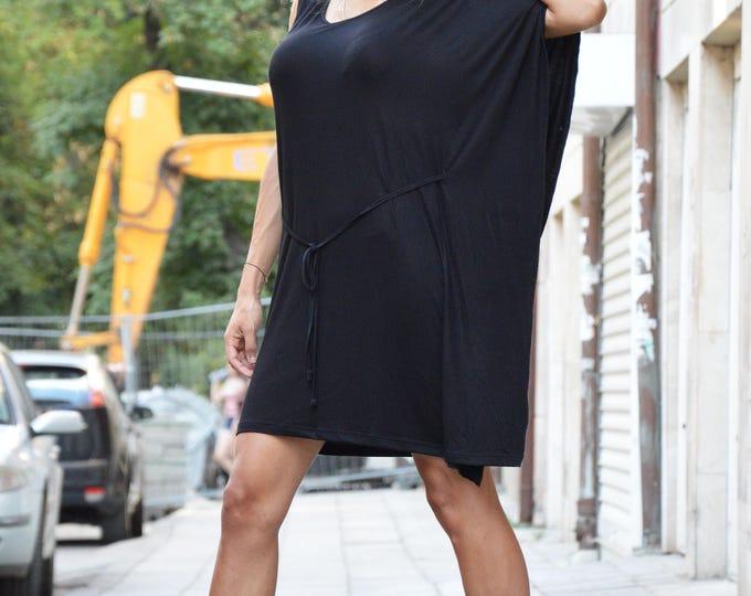 Sexy Little Black Viscose Dress, Extravagant Loose Dress, Party Tunic Top, Daywear Dress by SSDfashion