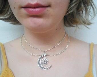 Handmade crescent moon pentagram chain choker