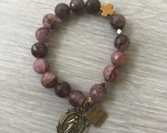Strawberry Quartz Rosary Bracelet With Virgin Mary Miraculous Medal