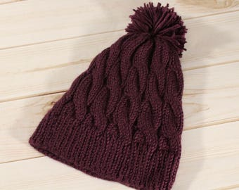 Purple Cable Beanie