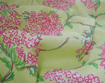 Racy Lacey Lush Green-Lilly Pulitzer for Lee Jofa-  Yellow Green Pink Window Panels / Any Length Available