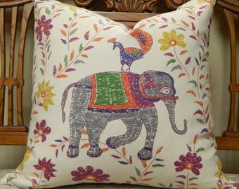 John Robshaw Mahout in Multi for Duralee / Decorative Throw Pillow Cover Lumbar Pillow Cover Euro Shams / All Size Available
