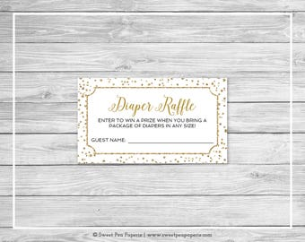 White and Gold Baby Shower Diaper Raffle Insert - Printable Baby Shower Diaper Raffle Cards - White and Gold Confetti Baby Shower - SP149