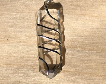 Clear Quartz Wrapped Pendant - 7th Chakra - Crown Chakra - Reiki - Energy Healing