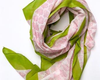 Handmade Natural Dyed Sarong, Block printed Large Scarf