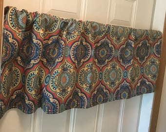 Rust Blue and Green patterned Curtain Valance