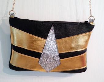 Handbag, shoulder bag black leather, gold, silver, gold chain, party, Christmas