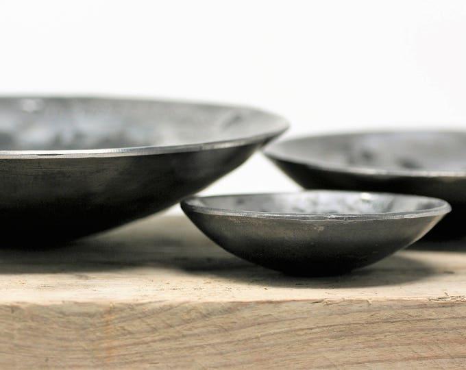 Set of Three IRON BOWLS/6th Anniversary iron gift/Iron anniversary hand forged bowls/personalised sixth anniversary iron gift//rustic  bowls