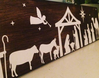 Nativity set scene, nativity set, nativity silhouette