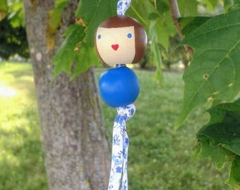Hand-Painted, Wooden Doll, bag charm.