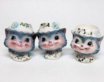 Lefton Miss Priss Salt and Pepper Shakers and Egg Cup
