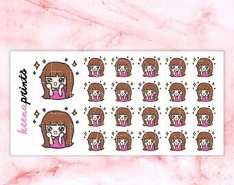 15% OFF A041 | Amazed stickers, happy stickers, Keenachi Emoticon Repositionable Stickers Perfect for Erin Condren Life Planner, Filofax, Pl