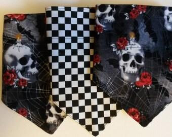 Skeleton Bandana- Skeleton/ Black and White check reversible dog bandana