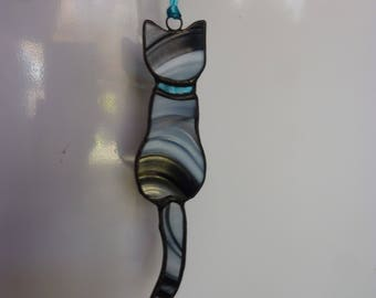 Stained glass Cat suncatcer,Cat,stripe cat,