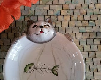 Cat Dish. Porcelain Character Dish.