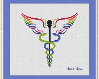 Cross Stitch Pattern Medical symbol Silhouette Two snakes Wings Rainbow Counted Cross Stitch Pattern/Instant Download Epattern PDF File