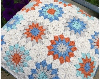 """Crochet Pillow,Handmade Crochet Cushion Cover,Home Decor,Granny Square Crochet,Decorative Pillow,Ready to Ship and made to order,16"""" Square."""