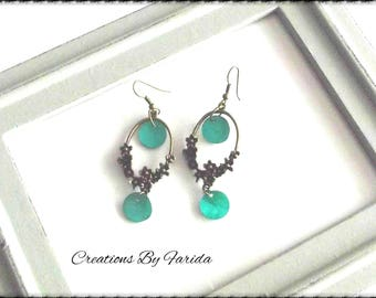 Earrings with bronze floral connector and turquoise sequins