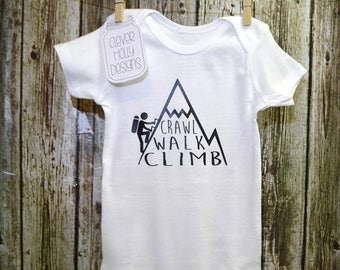 "Rock Climbing Onesie • Mountain Climbing Bodysuit • ""Crawl Walk Climb"" (long sleeve or short sleeve bodysuit)"