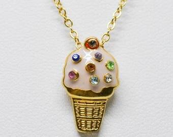 Lovely gold tone ice cream pendant neckalace
