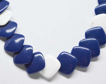 Blue and white tone plastic beaded necklace