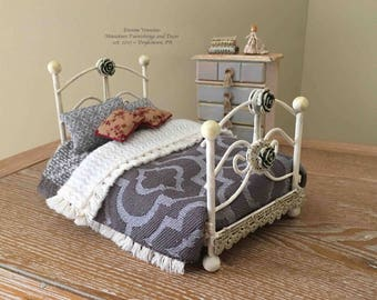 Miniature Wrought Iron Dressed Bed ~ 1:12 Scale