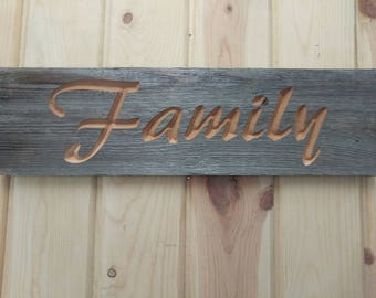 Carved Rustic Family Sign, Carved FAMILY Sign, FAMILY Sign
