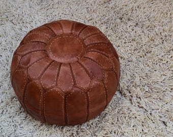 Beautiful hand embroidered hand stitched Genuine leather pouf