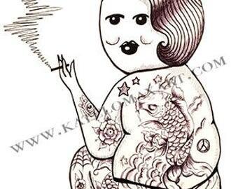 Coffee Cup Tattoo Girl Jessica Print