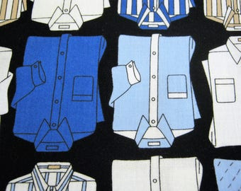 Dress Shirt Fabric by Timeless Treasures FUN-C 6532*Black Background*White and Blue Shirts*Graphic Print*Quilting Cotton*Out of Print*2 3/4