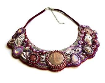 Shibori Silk Embroidered Jasper necklace